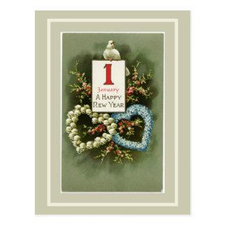 Cartão Postal Corações florais do vintage e feliz ano novo da