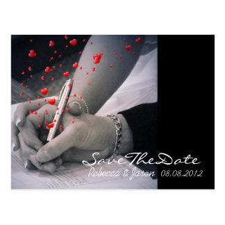 Cartão Postal corações modernos Las Vegas que Wedding economias
