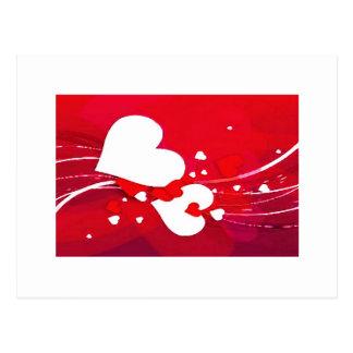 Cartão Postal corações vermelhos e brancos