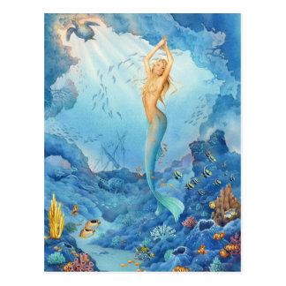 """Cartão Postal """"Coral"""", sereia, golfinhos, peixes e Shipwreck"""