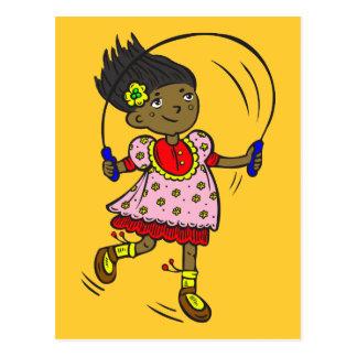 Cartão Postal Corda de salto da menina