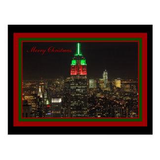 Cartão Postal Cores do Natal do Empire State Building na noite