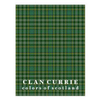 Cartão Postal Cores do Tartan de Currie do clã de Scotland
