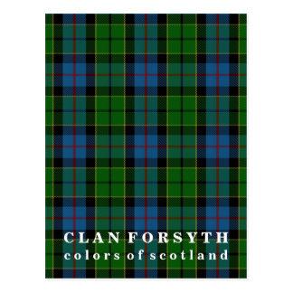 Cartão Postal Cores do Tartan de Forsyth do clã de Scotland