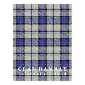 Cartão Postal Cores do Tartan de Hannay do clã de Scotland