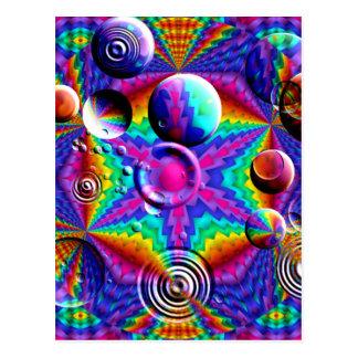 Cartão Postal Cores e bolhas Kaleidoscopic
