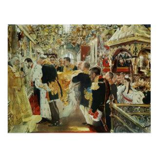 Cartão Postal Coroação de Valentin Serov do imperador