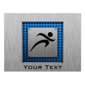 Cartão Postal Corredor escovado do olhar do metal