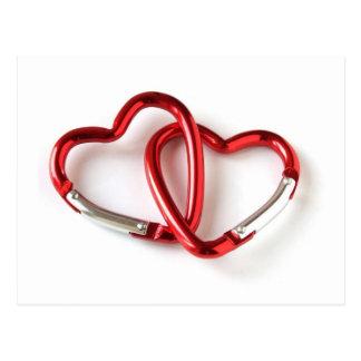 Cartão Postal Corrente chave da forma do coração. Amor