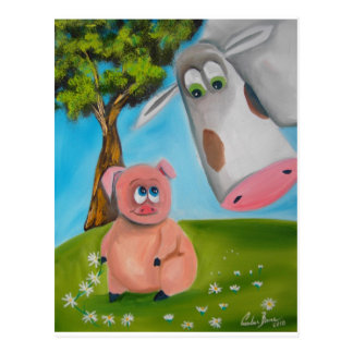 Cartão Postal corrente de margarida bonito da vaca do porco