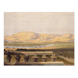 Cartão Postal Corrente de montanhas líbio do templo de Luxor