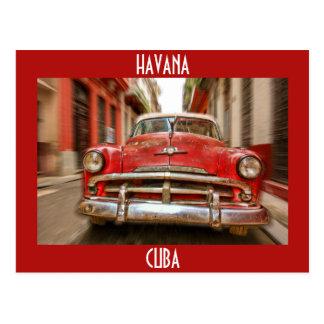 Cartão Postal Corridas de carros nas ruas de Havana velho, Cuba