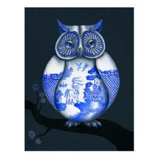 Cartão Postal Coruja azul do salgueiro