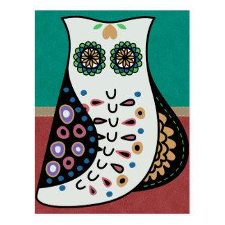 Cartão Postal Coruja boémia lindo do hippy