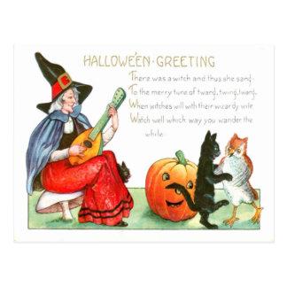 Cartão Postal Coruja da lanterna de Jack O da guitarra do gato