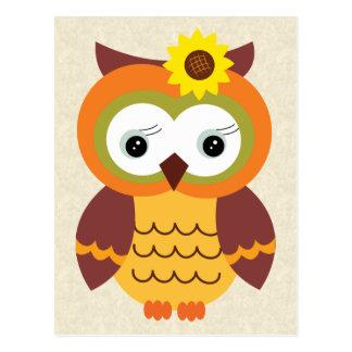 Cartão Postal Coruja da queda do outono