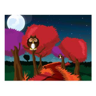 Cartão Postal Coruja de celeiro na arte do luar