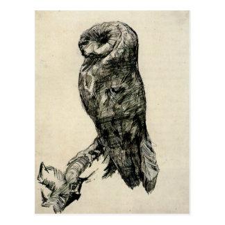 Cartão Postal Coruja de celeiro vista do lado por Vincent van