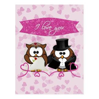 Cartão Postal coruja do casal - eu te amo