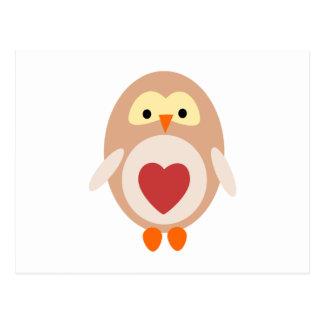 Cartão Postal Coruja do coração