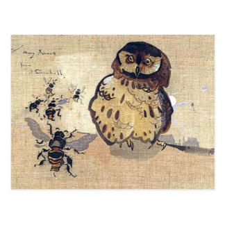 Cartão Postal Coruja e abelhas