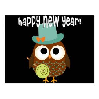Cartão Postal Coruja retro para a véspera de ano novo