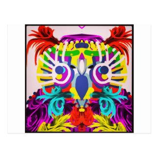 Cartão Postal Coruja tribal com muitas cores