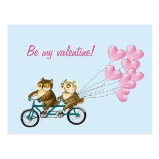 Cartão Postal Corujas com corações