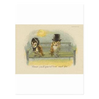 Cartão Postal corujas de discussão