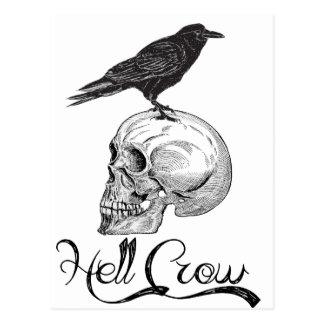 Cartão Postal Corvo o Dia das Bruxas do inferno