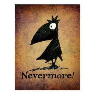 Cartão Postal Corvo preto engraçado pelo ponto de entrada de