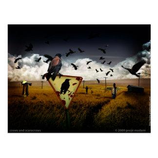 Cartão Postal corvos e espantalhos