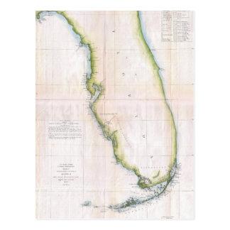 Cartão Postal Costa do vintage do mapa da avaliação de Florida