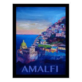 Cartão Postal Costa retro Italia de Amalfi do poster