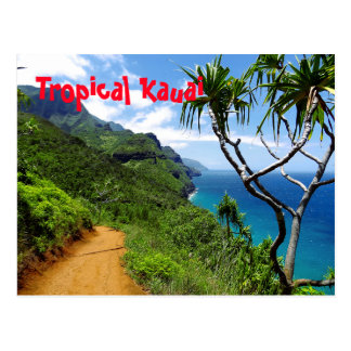 Cartão Postal Costa tropical Havaí do Nepali de Kauai