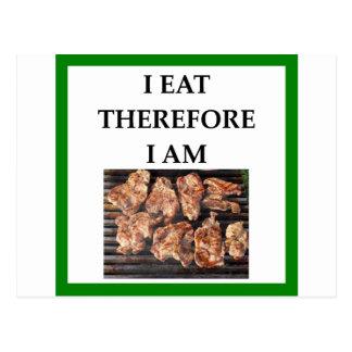 Cartão Postal costeletas de carne de porco