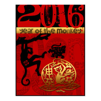 Cartão Postal Costume 2016 anos do ano novo chinês do macaco