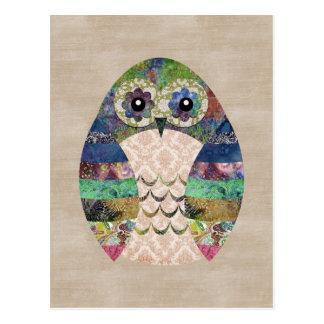 Cartão Postal Costume boémio do pássaro de Boho da coruja