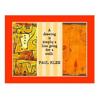 Cartão Postal Cotação de Paul Klee e colagem dos trabalhos de