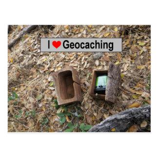 Cartão Postal Couro cru da caixa de madeira: Geocaching