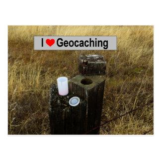 Cartão Postal Couro cru do cargo da cerca: Geocaching