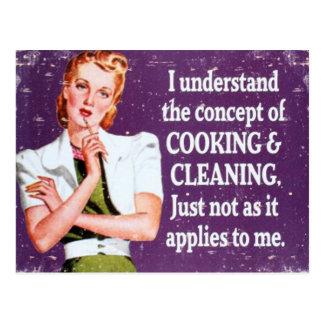 Cartão Postal Cozinhar e limpeza