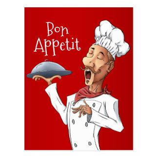 Cartão Postal Cozinheiro chefe de canto engraçado no vermelho