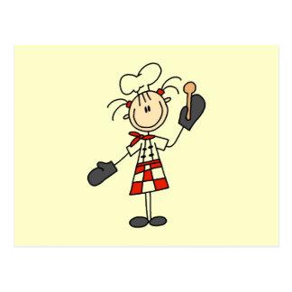 Cartão Postal Cozinheiro chefe fêmea com luvas e a colher de
