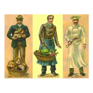 Cartão Postal Cozinheiro do quitandeiro do padeiro do vintage