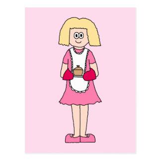 Cartão Postal Cozinheiro no rosa e no branco