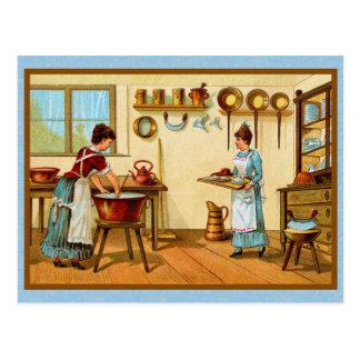 Cartão Postal Cozinheiros do vintage na cozinha