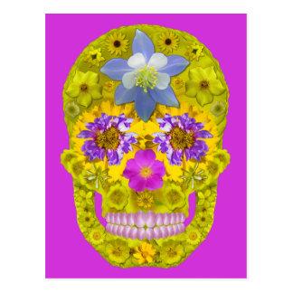 Cartão Postal Crânio 3 da flor