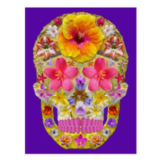 Cartão Postal Crânio 4 da flor - tropical