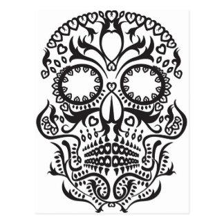Cartão Postal Crânio branco e preto/dia do morto